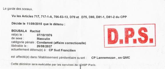 Extrait d'unedécision d'affectation envoyée par l'administration pénitentiaire, le 11 septembre 2015, à Rachide Boubala.