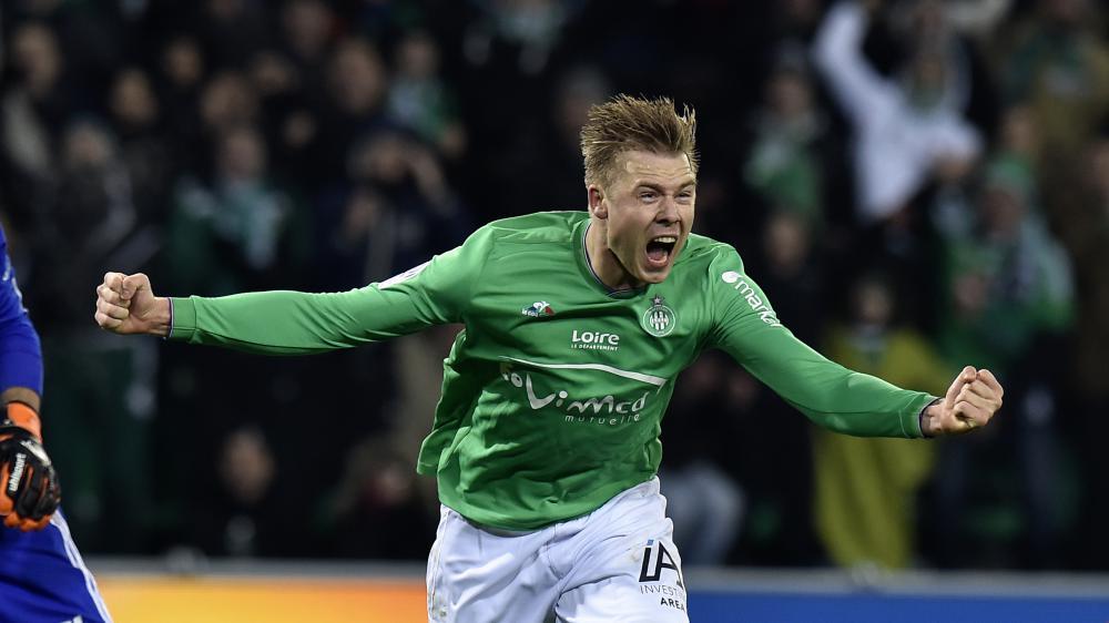 La joie de l'attaquant stéphanois Alexander Soderlund, buteur lors du derby contre Lyon, le 17 janvier 2016.
