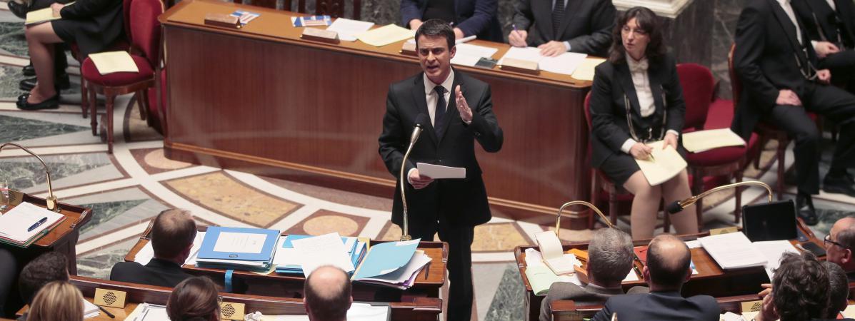 Le Premier ministre, Manuel Valls, le 9 février 2016 à l'Assemblée nationale.