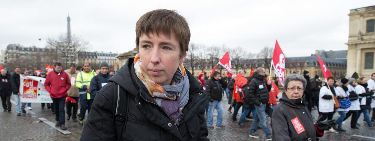 Caroline De Haas lors de manifestation contre la loi Travail, le 9 mars 2016, à Paris.