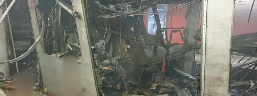 Une rame à la station Maelbeek du métro de Bruxelles (Belgique), le 22 mars 2016. La Stib, qui exploite le réseau, a confirmé à francetv info qu'il s'agissait bien de la rame touchée.