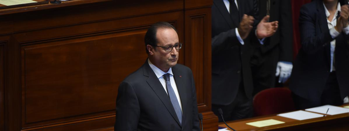 François Hollande, le 16 novembre 2015, devant le Congrès rassemblé à Versailles (Yvelines).