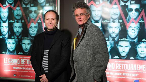 """Frederic Lordon, auteur de la piece de theatre """"D'un retournement a l'autre""""et Gerard Mordillat realisateur du film """"Le grand retournement"""", lors de l'avant premiere au Cinema des Cineastes a Paris le 1er août 2013."""