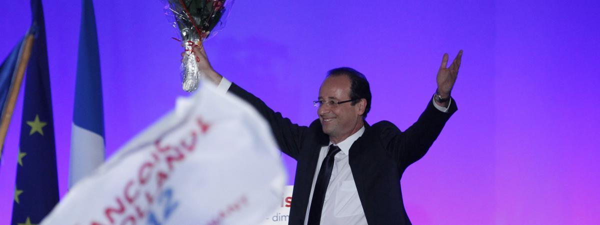 François Hollande célèbre sa victoire à Tulle (Corrèze), le 6 mai 2012.
