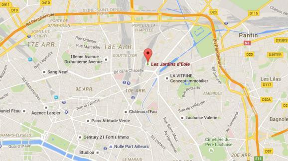 Capture écran Google Maps des Jardins d  Eole, situé dans les 18e et 778c0bdad384