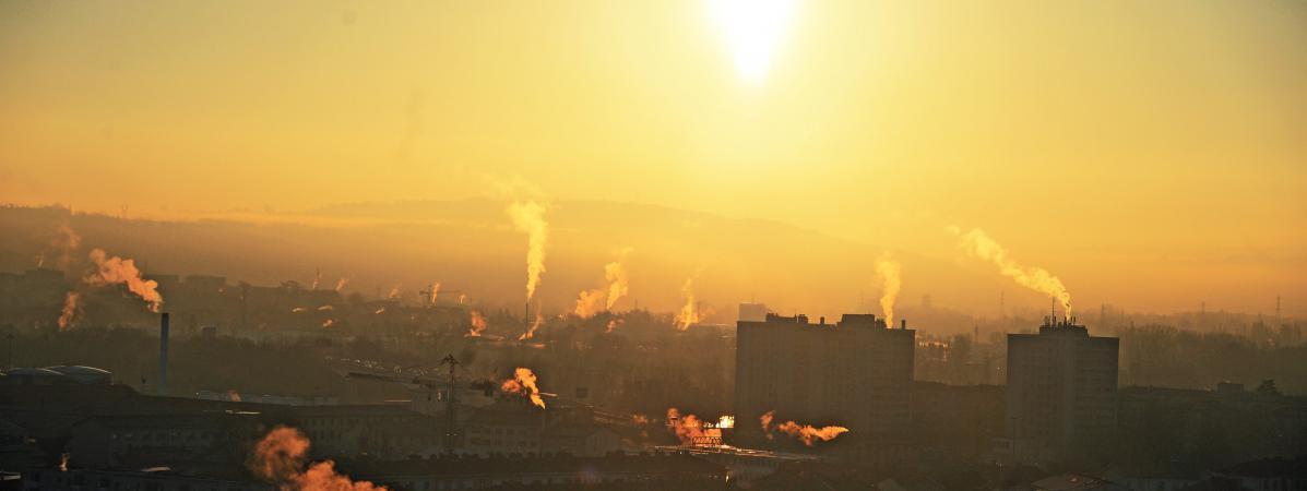 La ville de Lyon (Rhône) lors d'un épisode de pollution, le 5 janvier 2015.