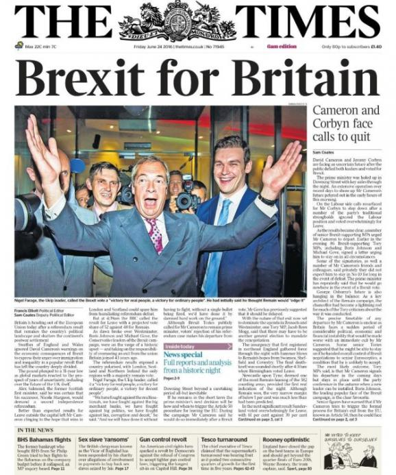 en images les unes des journaux britanniques apr s la victoire du brexit. Black Bedroom Furniture Sets. Home Design Ideas