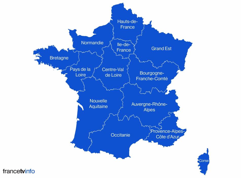 carte de france avec les nouvelles regions - Image