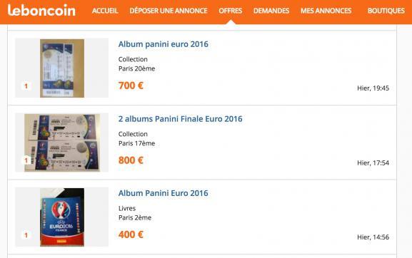 Capture d'écran du site Le Bon Coin avec quelques annonces promettant des albums Panini mais vendant en réalité des places pour la finale de l'Euro.