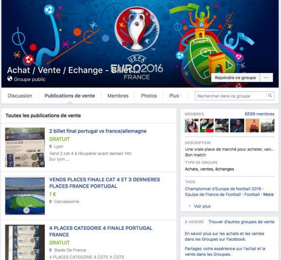 Capture d'écran d'une des pages Facebook consacrées à la revente de billets pour assister aux matchs de l'Euro.