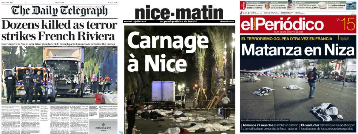 Les journaux français et étrangers évoquent l'attentat de Nice (Alpes-Maritimes) en une de leurs éditions du 15 juillet 2016.