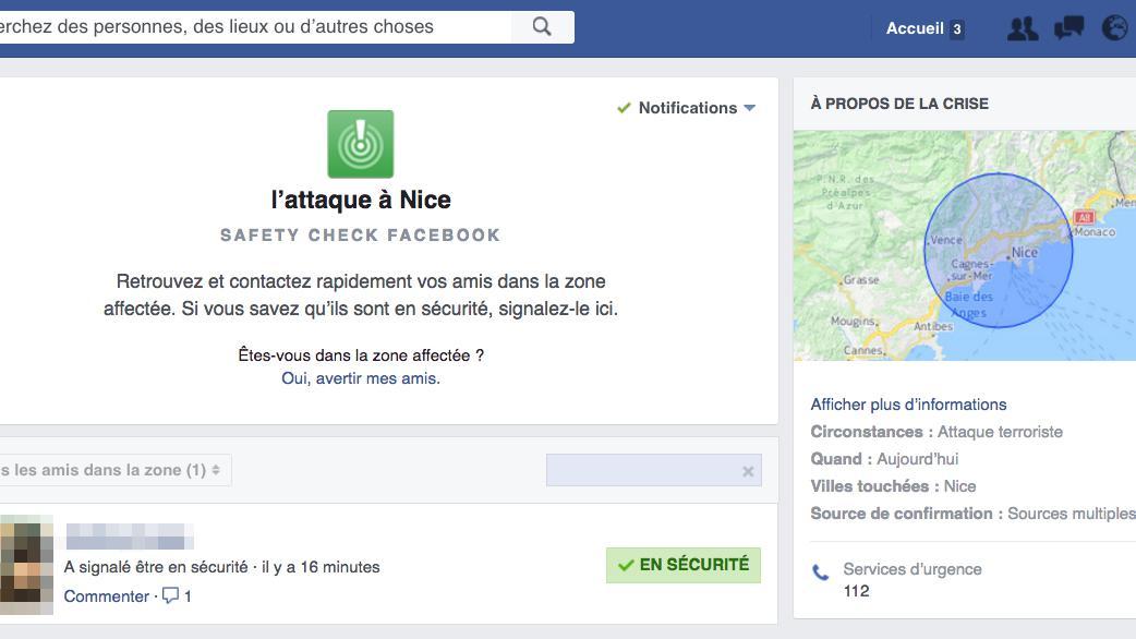 "Attentat Facebook: Attentat Au Camion à Nice : Facebook Active Son Bouton ""je"
