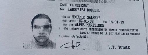 Une copie du permis de séjour de Mohamed Lahouaiej-Bouhlel, diffusée par la police de 15 juillet 2016.