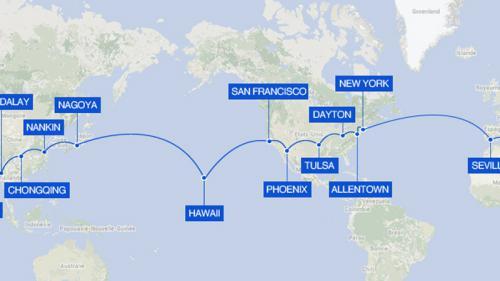 Le tour du monde de Solar Impulse 2 en gif animé