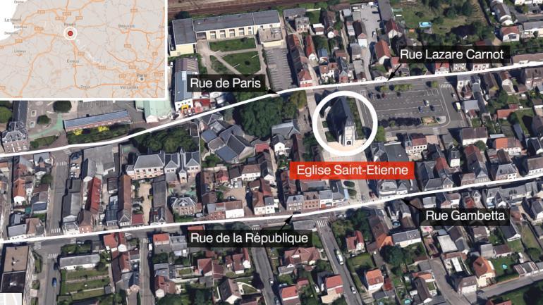 Une prise d'otages a eu lieu dans une église à Saint-Etienne-du-Rouvray (Seine-Maritime), le 26 juillet 2016.