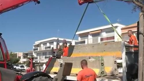 Valras : des blocs de béton installés tout le long de la plage