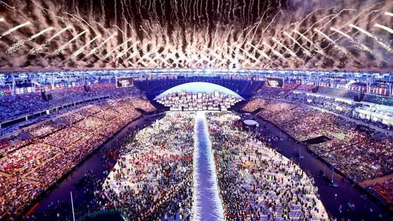 Le stade Maracana lors de la cérémonie d'ouverture des Jeux olympiques de Rio, le 5 août 2016.