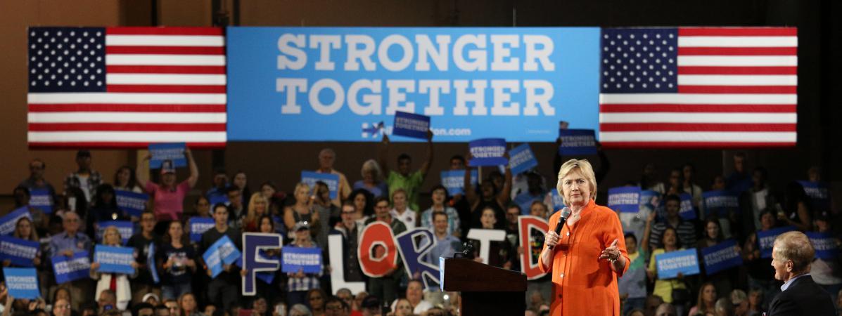 La candidate démocrate à la Maison Blanche, Hillary Clinton, lors d'un meeting à Kissimmee (Floride, Etats-Unis), le 8 août 2016.