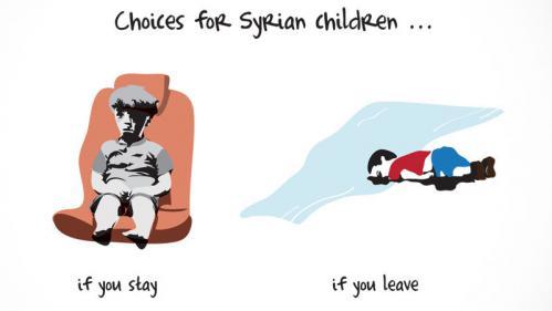 """""""Le choix des enfants syriens"""" : d'Aylan à Omran, le dessin qui résume l'horreur de la guerre en Syrie"""