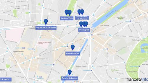 INFOGRAPHIE. Entre dispersions et évacuations, suivez le parcours de Moussab, réfugié à Paris, en gif animé