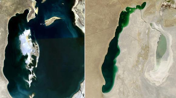 Cet avant-après montre la mer d'Aral en septembre 2008 (à gauche) puis en septembre 2013 (à droite).