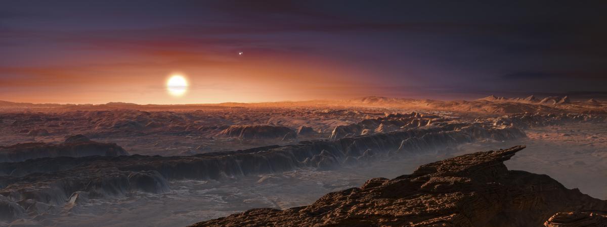 Reproduction artistique de la surface de l'exoplanète Proxima b, publiée par l'Observatoire européen austral, le 24 août 2016.