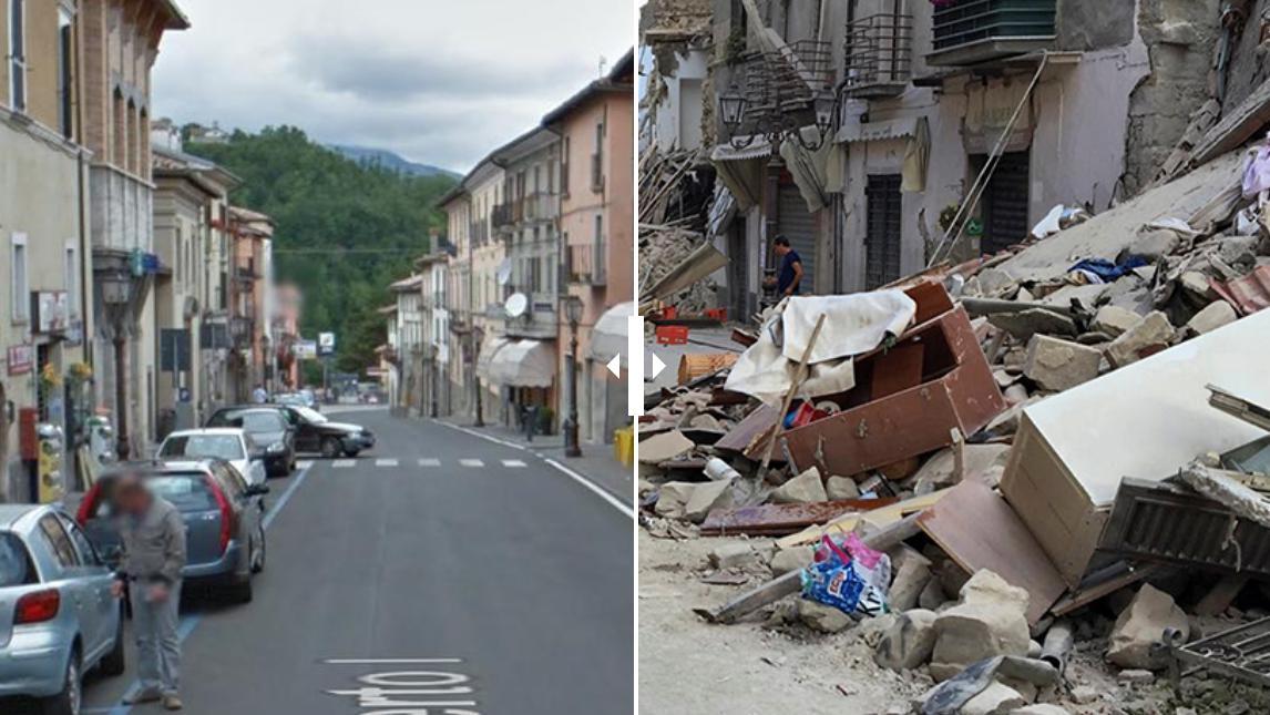 avant apres s isme en italie le village d 39 amatrice m connaissable. Black Bedroom Furniture Sets. Home Design Ideas