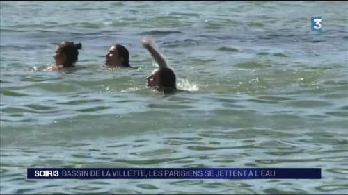 Paris : journée de baignade dans le bassin de la Villette
