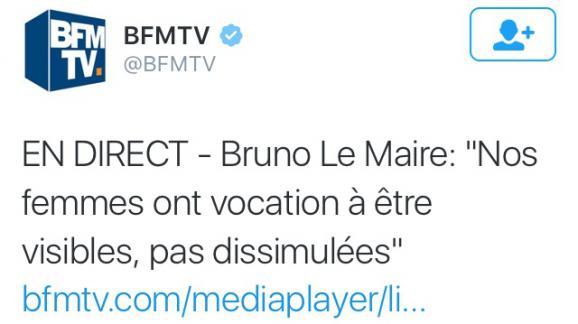 Capture d'écran du tweet de BFMTV le 3 septembre 2016.