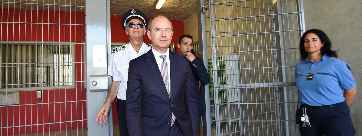 Jean-Jacques Urvoas le 1er septembre 2016 en visite à la prison de Béziers