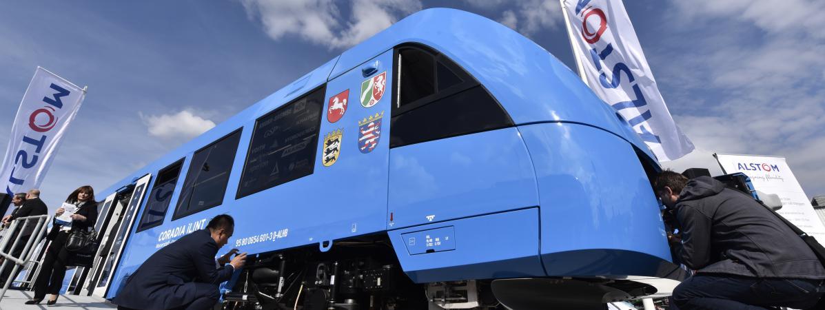 """Le nouveau train """"Zéro émissions""""d'Alstom baptiséCoradia iLint,présenté lundi 20 septembre à Berlin (Allemagne)."""