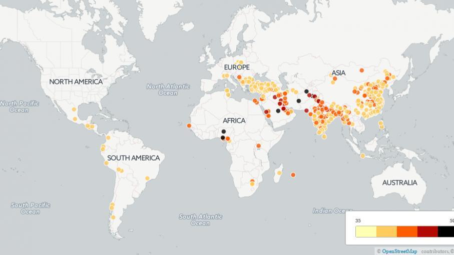 carte voici les 500 villes les plus pollu es du monde. Black Bedroom Furniture Sets. Home Design Ideas