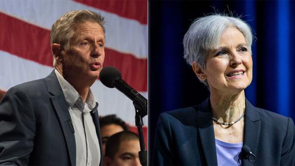 Le candidat libertarien à la Maison Blanche, Gary Johnson, et la candidate écologiste, Jill Stein.