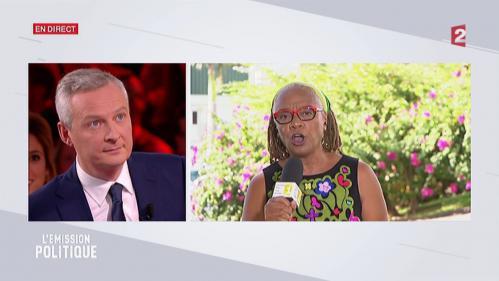 """VIDEO. """"Tout ça, c'est du pipi de chat"""" : l'échange tendu entre Bruno Le Maire et une syndicaliste dans """"L'Emission politique"""""""