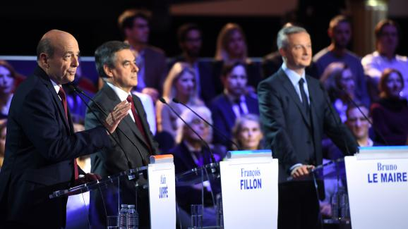 Alain Juppé, François Fillon et Bruno Le Maire lors du deuxième débat télévisé
