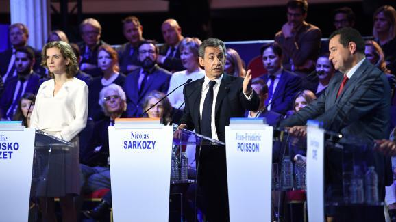 Nathalie Kosciusko-Morizet, Nicolas Sarkozy et Jean-Frédéric Poisson, le 3 novembre 2016 à Paris, lors du deuxième débat de la primaire à droite.