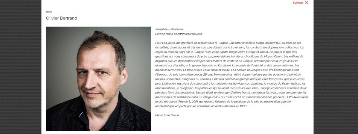 Capture d\'écran de la page d\'Olivier Bertrand sur Les Jours.