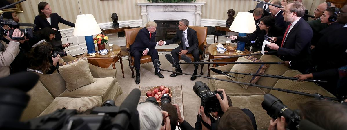 Tenus l 39 cart par donald trump les journalistes de la for Barack obama a la maison blanche