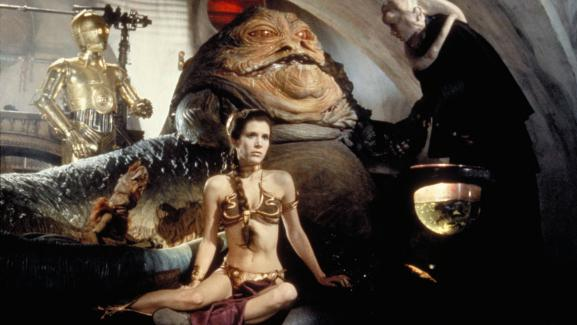 Carrie Fisher, dans l\'\'EpisodeVI - Le Retour du Jedi\', de la saga \'Star Wars\', sorti en 1983.