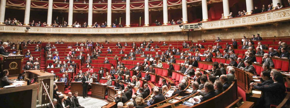 L\'hémicycle de l\'Assemblée nationale, lors d\'une séance de questions au gouvernement, le 4 février 2015