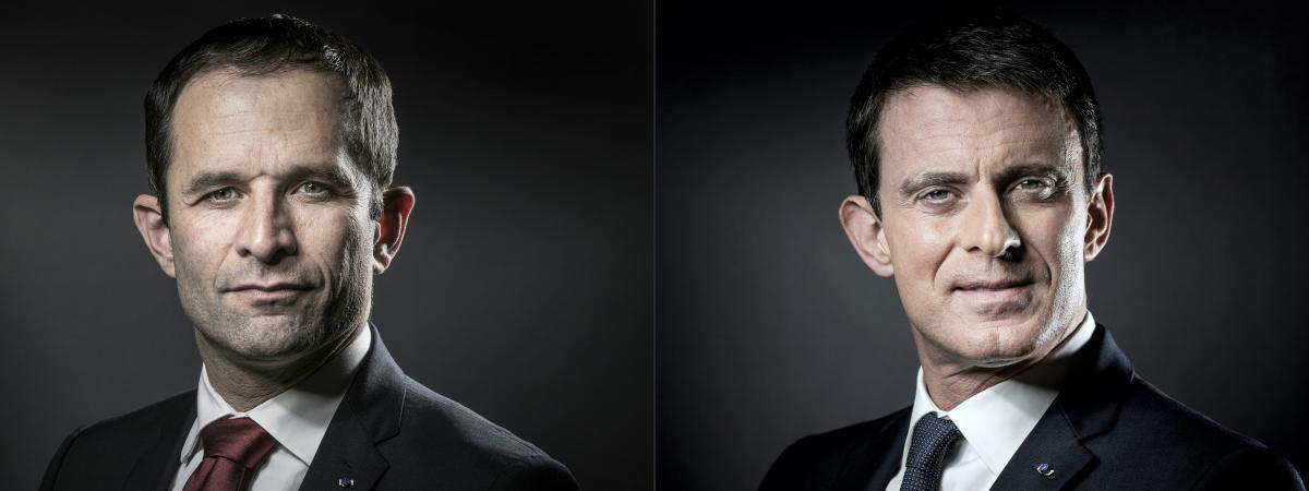 Benoît Hamon et Manuel Valls, vainqueurs du premier tour de la primaire socialiste
