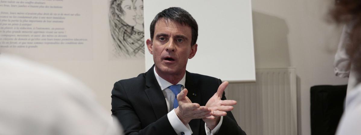 Le candidat à la primaire de la gauche, Manuel Valls, le 24 janvier 2017 à Saint-Denis (Seine-Saint-Denis).