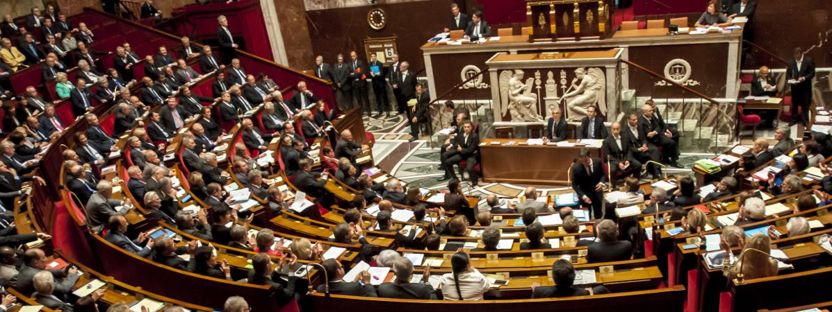 L\'hémicycle de l\'Assemblée nationale, à Paris, le 6 octobre 2015.