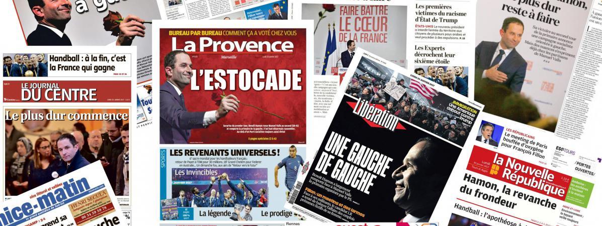 Les unes des journaux du 30 janvier 2017, titrant sur la victoire de Benoît Hamon.
