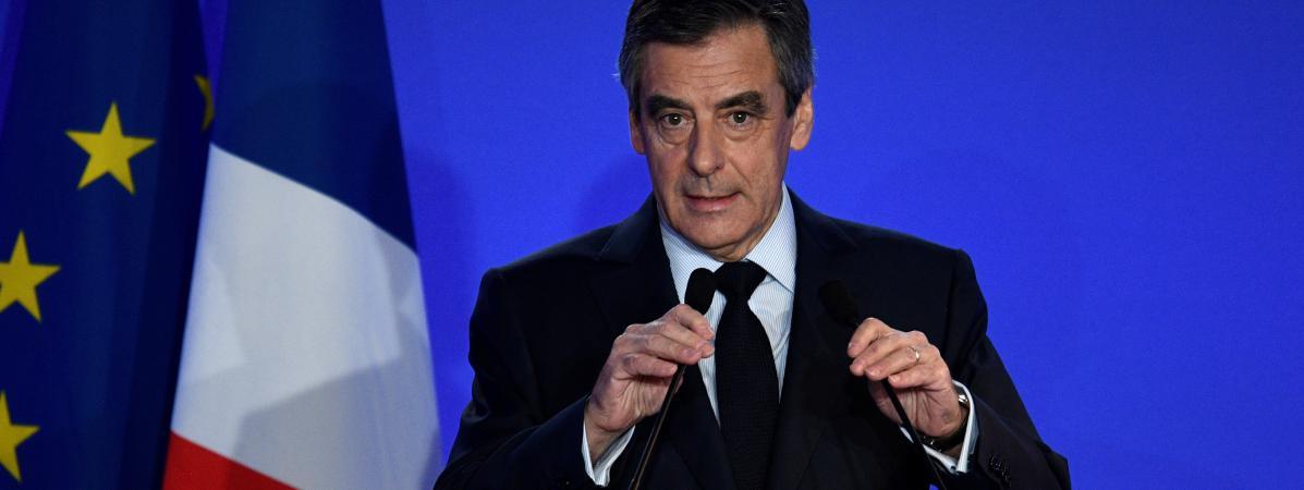 François Fillon, lors de sa conférence de presse organisée lundi 6 février 2017 à son QG de campagne, dans le 15e arrondissement de Paris.