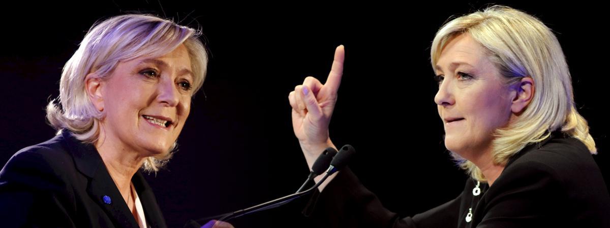 La présidente du Front national, Marine Le Pen, le 26 janvier 2017 (à gauche) et le 7 avril 2012 (à droite).