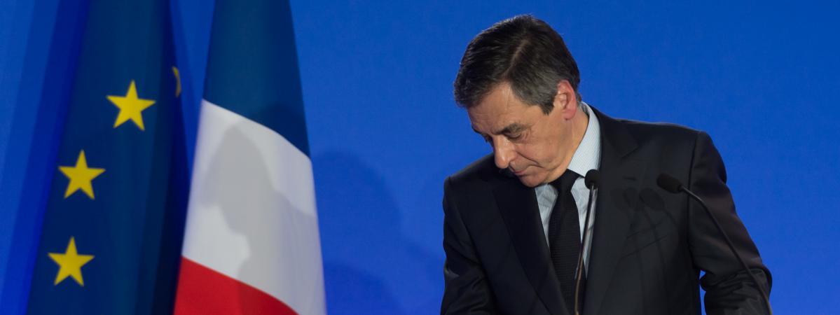 François Fillon à l\'issue d\'une conférence de presse à son QG de campagne, à Paris, le 6 février 2017.