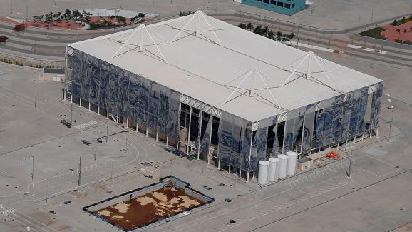 Une vue aérienne duCentre aquatique olympique de Rio, le 15 janvier 2017.