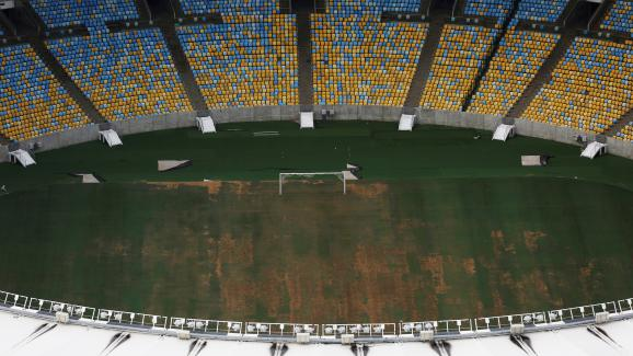 Vue aérienne du stadeMaracanã, qui a accueilli lescérémonies d\'ouverture et de fermeture des Jeux olympiques, photographié le 12 janvier 2017.
