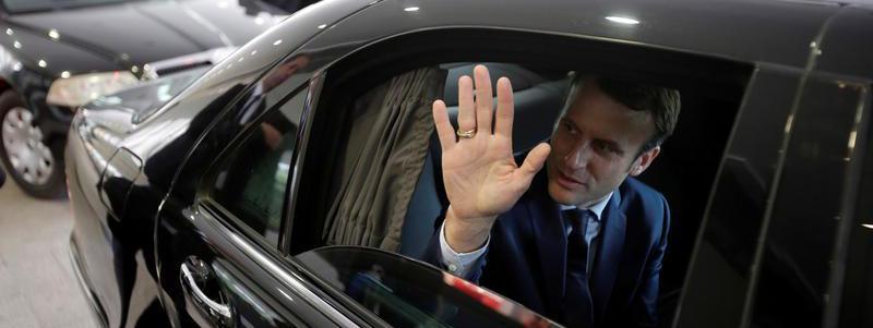 Emmanuel Macron, candidat d'En Marche à la présidentielle française, en visite